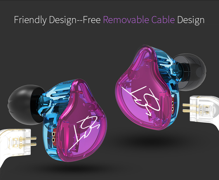 AK Original KZ ZST Colorful BA+DD In Ear Earphone Hybrid Headset HIFI Bass Noise Cancelling Earbuds With Mic Replaced Cable ZSN 9