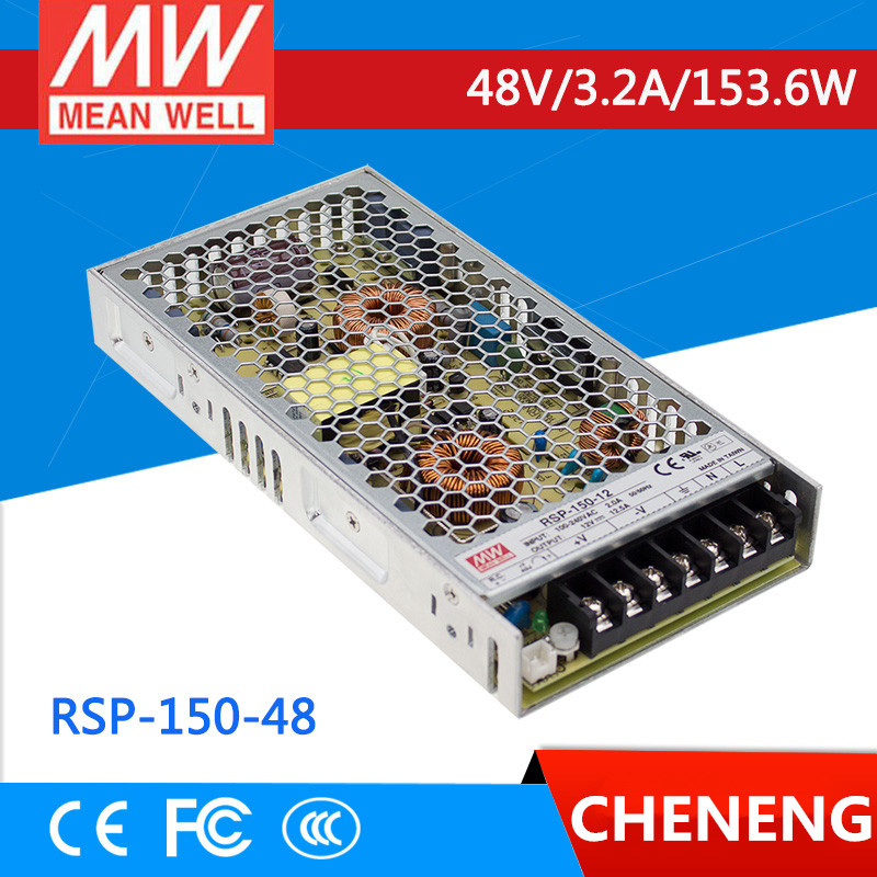 MEAN WELL original RSP-150-48 48V 3.2A meanwell RSP-150 48V 153.6W Single Output with PFC Function Power Supply mean well usp 150 48 48v 3 2a meanwell usp 150 48v 153 6w u bracket with pfc function power supply