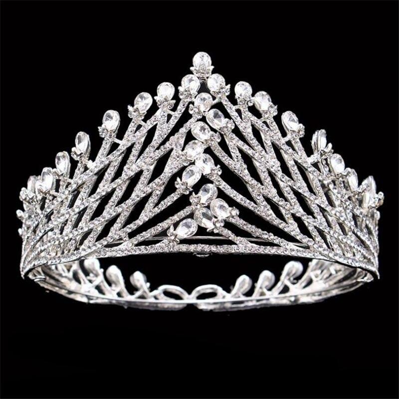 Bridal tiara Crown Silver Color Crystal Rhinestone Bride Wedding Headdress Queen King Tiaras Crown Crown Hair accessories цена 2017