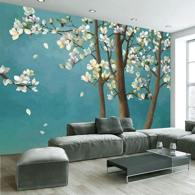 Fototapete 3D Magnolia Baum Chinesische Art Ölgemälde Wandmalerei Wohnzimmer  Zimmer TV Sofa Schlafzimmer Klassischen Wohnkultur Tapeten