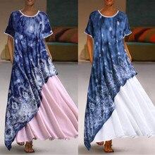 Summer Plus Size 5XL V-Neck Loose Dress Women Vintage Splici