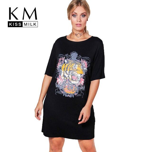 Kissmilk Women Plus Size Tiger Print O neck Mini Dress Short Sleeve Loose Solid Basic Dress Large Size Casual Mini Dress