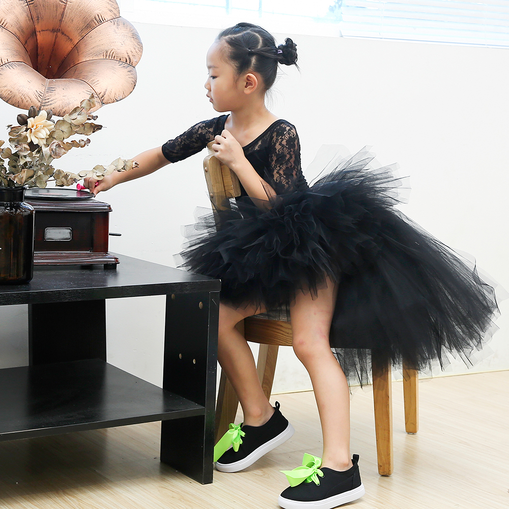 Black Puffy Skirts for Girls Unicorn Tutu Birthday Party Skirt Knee Length Elastic Nylon Tulle Girls Skirts Princess Tutu Skirt (5)