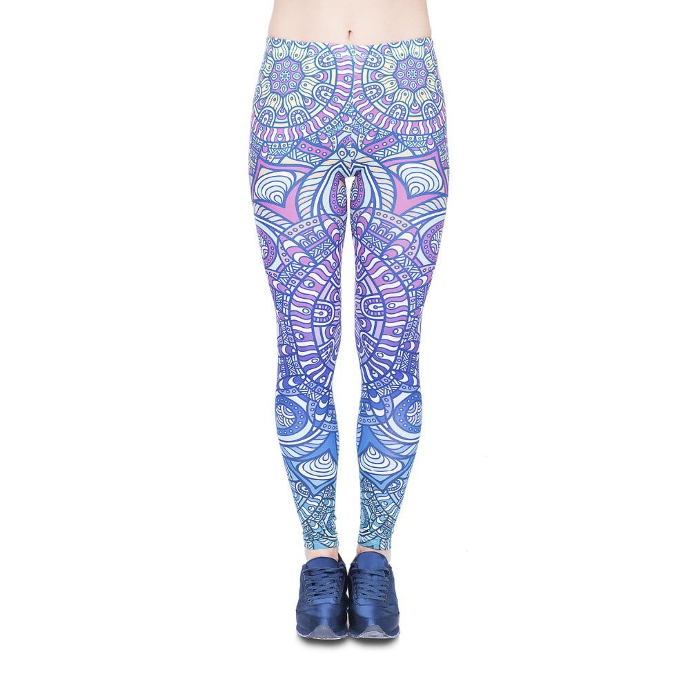 Women Legging Mandala Blue Ombre Printing Fashion Bottoms Sexy High Waist Fitness Leggings Stretch Pants For Womens