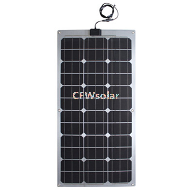 semi flexible solar panel 50W from china with aluminum plate, rechargeable batteries, solar cells charging for 12V battery.