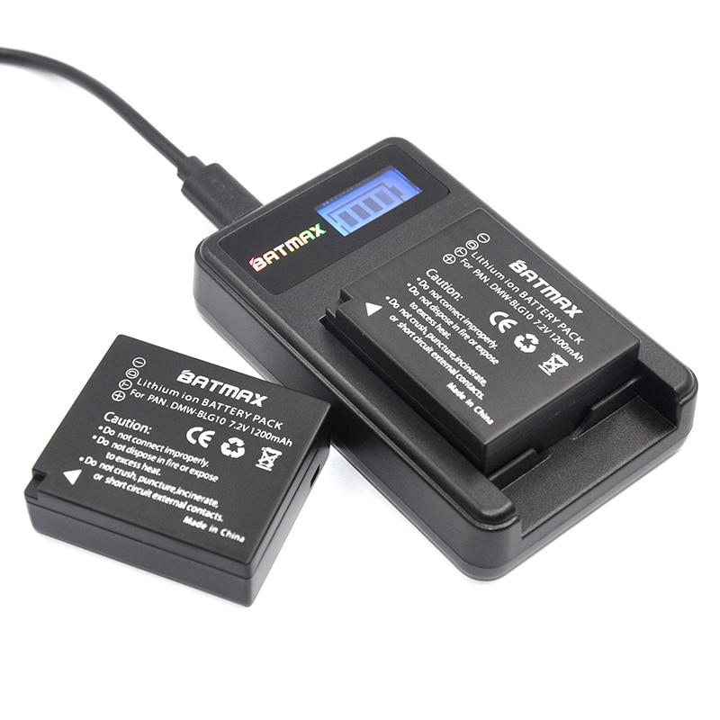 2X DMW-BLG10 BLG10 BP-DC15 BPDC15 Batterie + Caricabatterie LCD per Panasonic Lumix GF6, GX7, GX80, GX85, GX7 Mark II, LX100, D-Lux (Tipo 109)