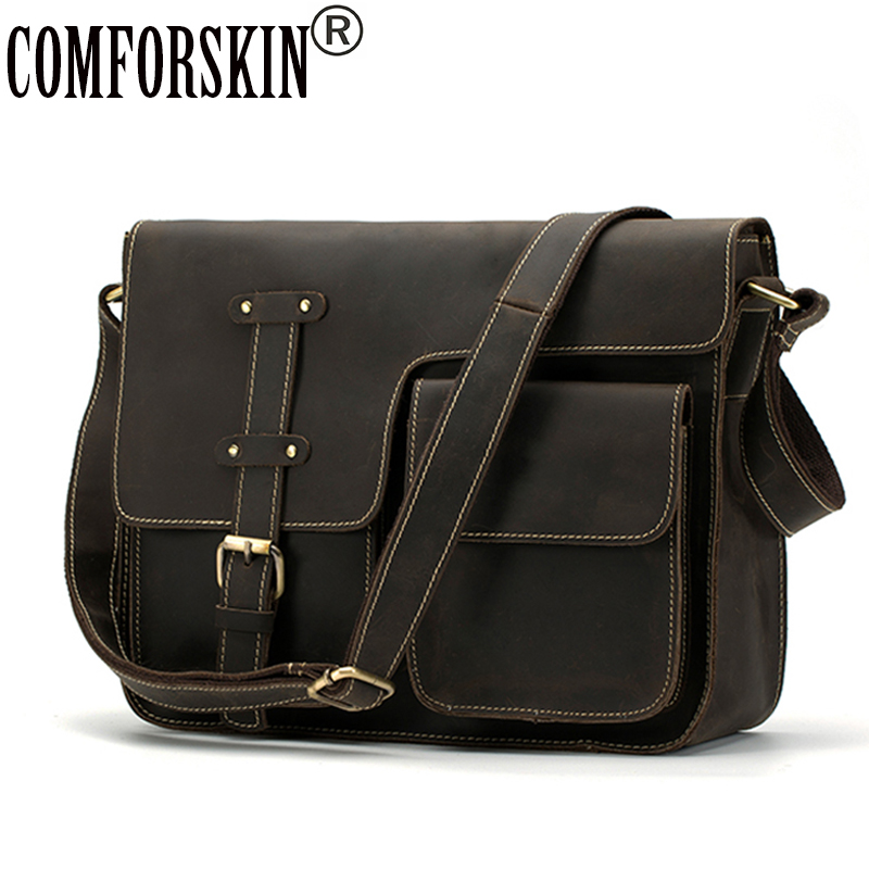 COMFORSKIN Brand Guaranteed Genuine Crazy Horse Leather Large Capacity 2018 New Arrivals Men Leather Messenger Bag Male Bolsos цена