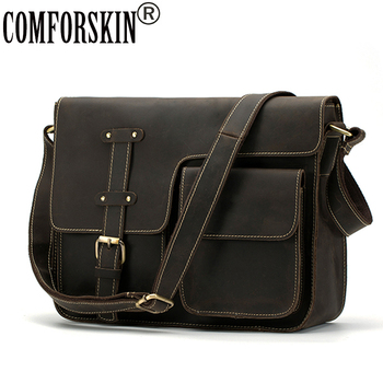 COMFORSKIN Brand Guaranteed Genuine Crazy Horse Leather Large Capacity 2020 New Arrivals Men Leather Messenger Bag Male Bolsos