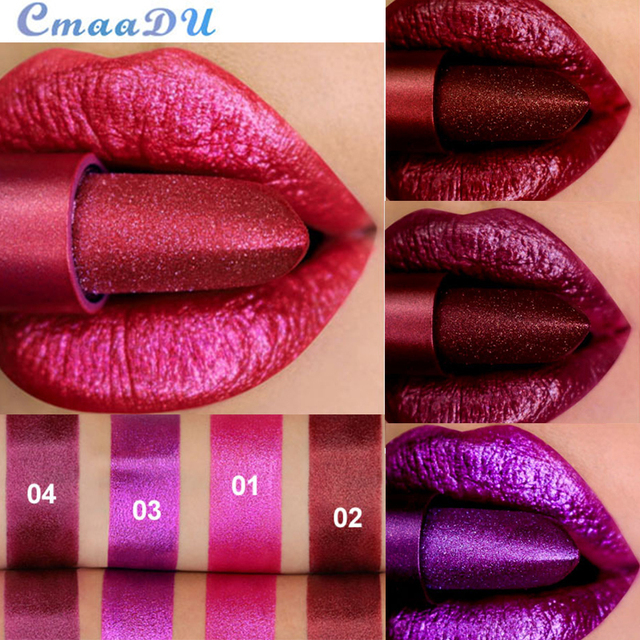 Professional Lips Makeup Lip Stick Waterproof Long Lasting Pigment Nude Pink Mermaid Shimmer metal color Lipstick Luxury Makeup