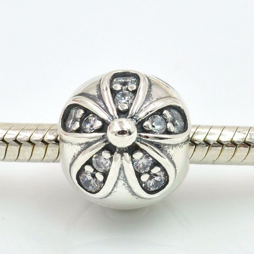 5a4ef24d7 Original 925 Sterling Silver Clip Charms Dazzling Daisies Flower Charm Bead  with CZ Fits Pandora Charms Bracelet DIY Jewelry