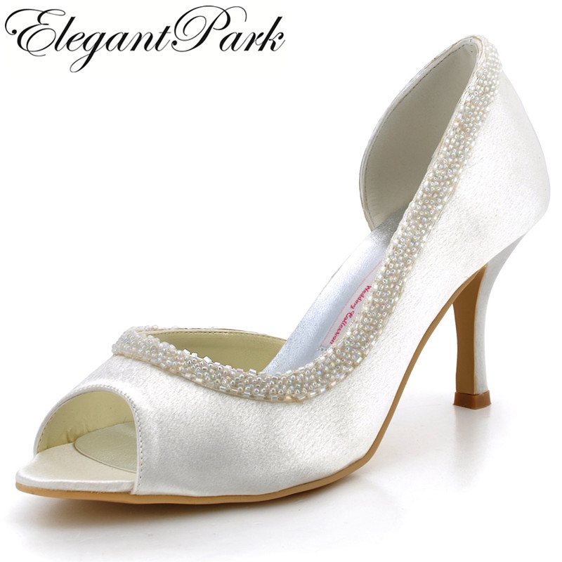 Fashion Woman Dress Shoes EL-005 White Ivory Peep Toe Beading  High Heel Satin Wedding Bridal Prom Shoes Women's wedding Shoes 2015 unique ivory pearl rhinestone wedding dress shoes peep toe high heeled bridal shoes waterproof woman party prom shoes