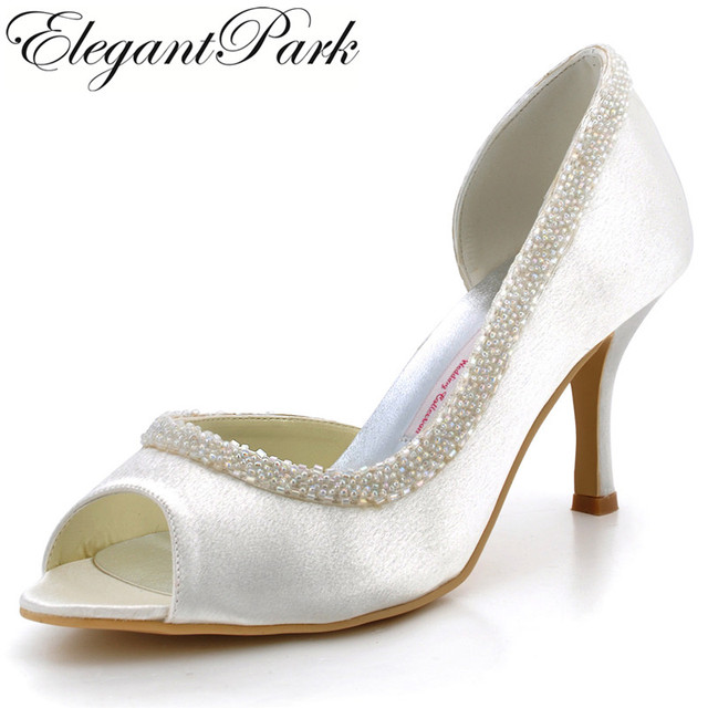 71949b57a19 Women s Shoes wedding EL-005 White Ivory Peep Toe Beading High Heel Satin  Lady bride woman Prom party dress Bridal pumps