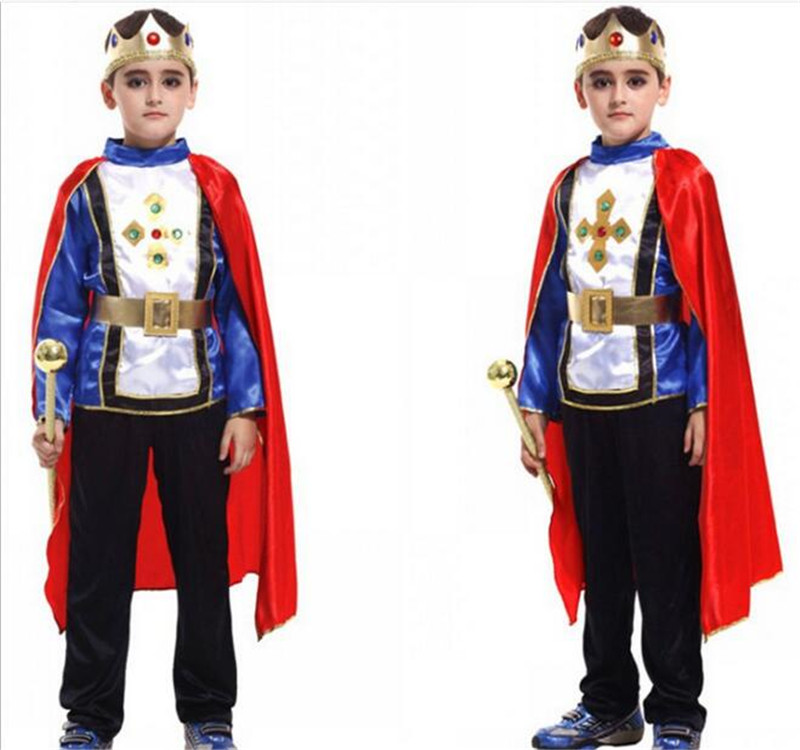 Halloween Cosplay kids Prince Costume for Children The King Costumes Christmas Boys Fantasia European royalty clothing A415