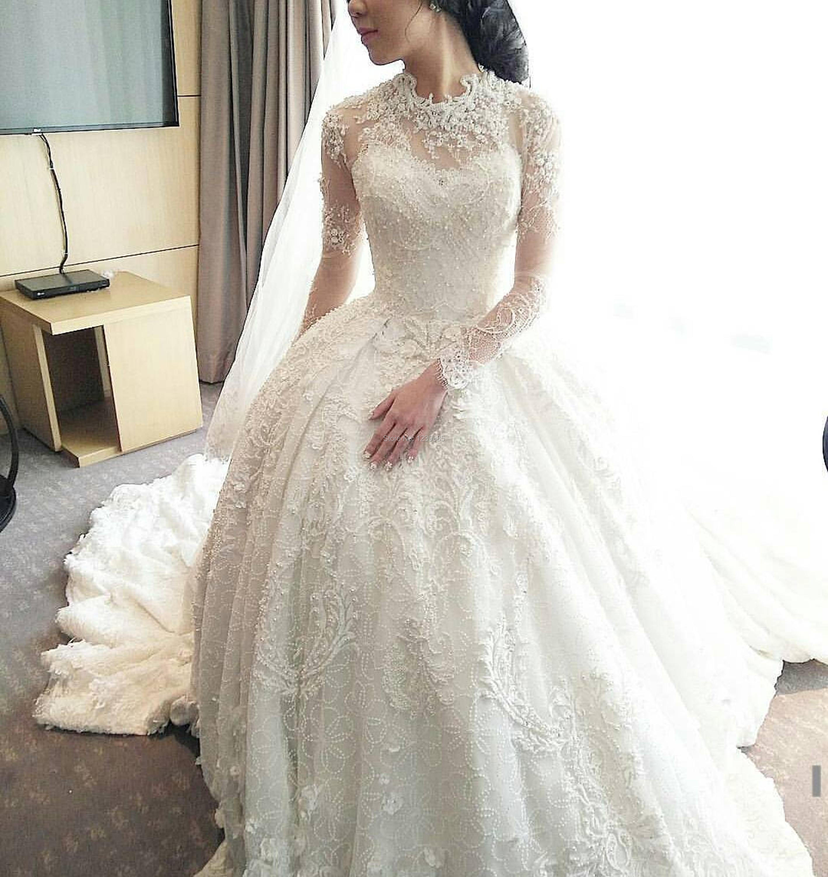 Wedding Gown With Neck Detail: Princess Wedding Dress 2017 High Neck Long Sleeves