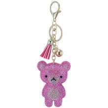 Shiny Mini Bear Inlaid Rhinestone Key Chains Funny Bags Hanging Pendant Jewelry Ornament Keyring Tassel Decoration New Year Gift(China)
