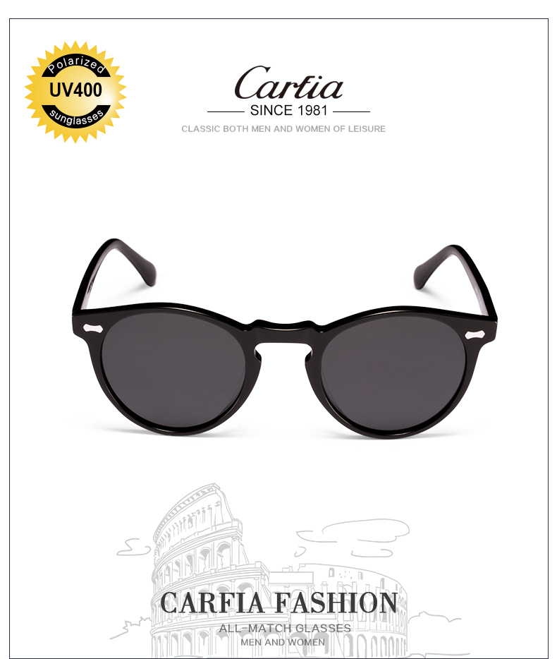 dc05f290b6 Carfia Polarized Sunglasses Classical Brand Designer Gregory Peck ...