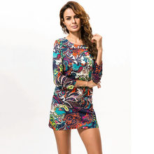 1f04d2cac5 Women Autumn Fashion Casual O-Neck A-Line Print Long Sleeve Above Knee Dress  Folk Mini African Style Big Size Plus Size 4XL