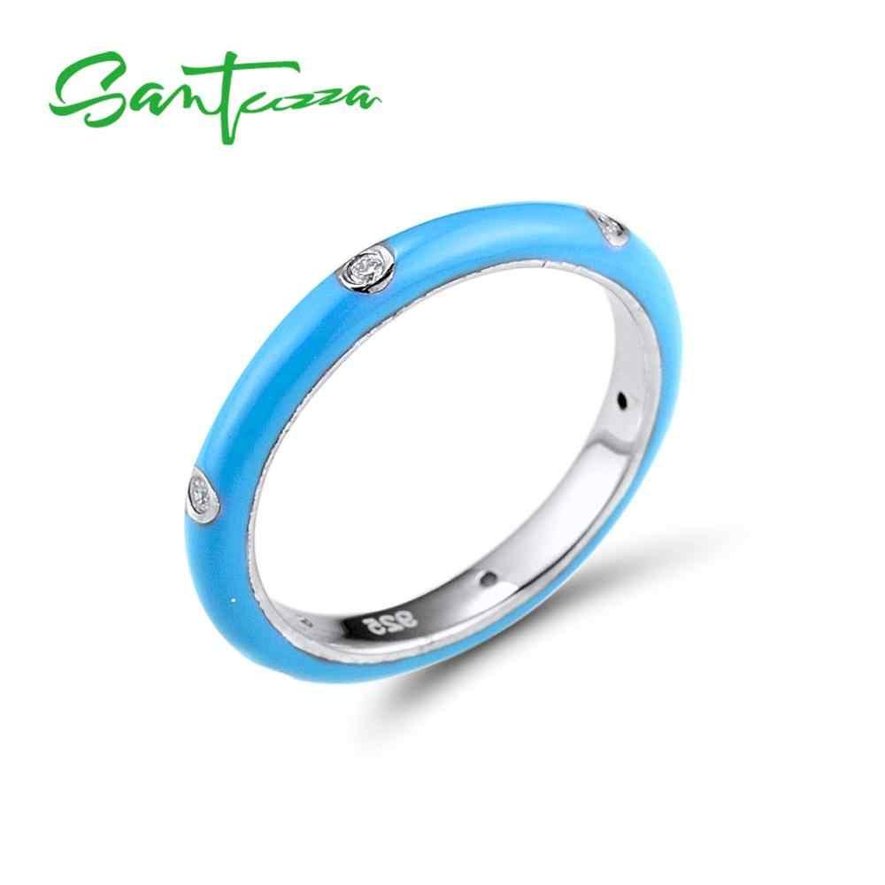 SANTUZZA แหวนสำหรับสตรี 925 เงินสเตอร์ลิงสีสันสดใสสายรุ้ง CZ Eternity แหวนแฟชั่นเครื่องประดับทำด้วยมือเคลือบ