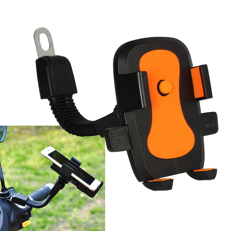 Motorcycle Scooter Mobile Phone Holder Adjustable Rear View Mirror Stand Adjustment For Moped Bike
