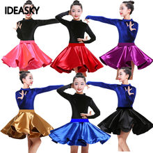 velvet ballroom latin dance wear girls kids dresses competition children salsa tango rumba samba for dancing practice top skirts(China)