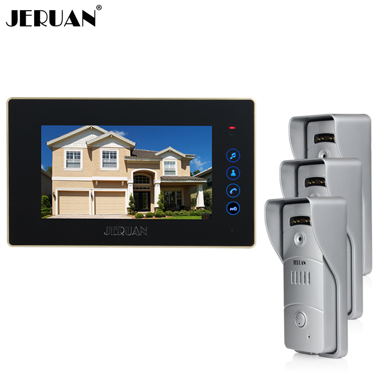 JERUAN Home wired 7 inch LCD screen touch key video door phone intercom system + waterproof metal pinhole Cameras In stock