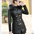 New Arrival 2016 Autumn Women Slim long Plus Cotton Leather Jacket Coat Double Breasted Fur Collar PU Motorcycle Leather Coat
