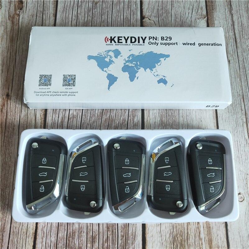 5 pcs/lot KEYDIY KD B29 3 boutons clé de voiture vierge pour KD900/KD-X2/URG200 programmeur clé série B télécommande