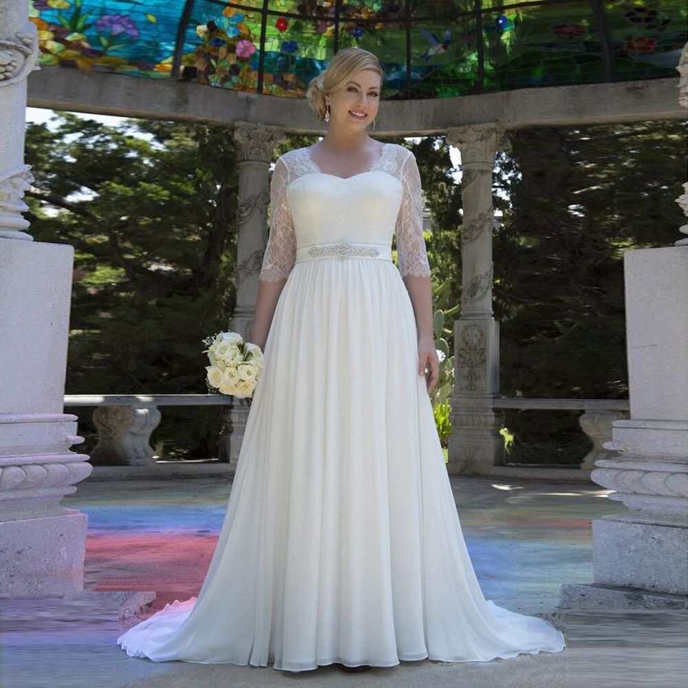 2019 Lace Wedding Dresses For Women Chiffon vestido de noiva bride dress New Arrival Belt Beading Zip Back Bridal Dresses in Wedding Dresses from Weddings Events