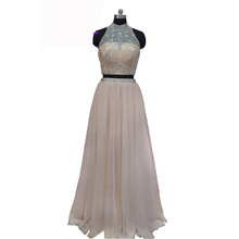 New Fashion Two Piece Prom Dresses Long 2017 High Neck Off The Shoulder Floor Length Crystal