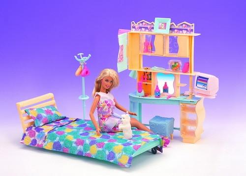 12 Joints 6 Points 30cm Doll Bedroom For Barbie Accessorie Furniture Pink Princess Bed + Dresser Set DIY Toys