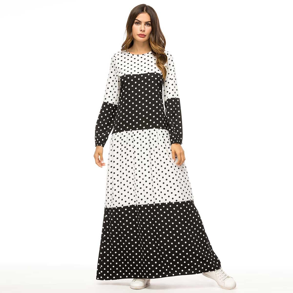 Us 2099 40 Off2019 Black White Polka Dot Print Women Long Dress Urban Muslim Abaya Maxi Vestidos Arab Dubai Uae Qatar Robe Plus Size Vkdr1425 In