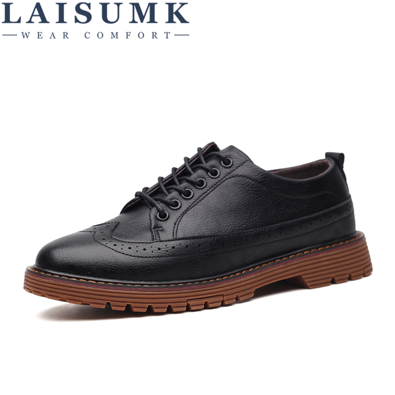 LAISUMK Fashion Brand Men 39 s Business Dress Brogue Shoes For Wedding Party Retro Leather Black Brown Round Toe Oxford Shoes in Men 39 s Casual Shoes from Shoes