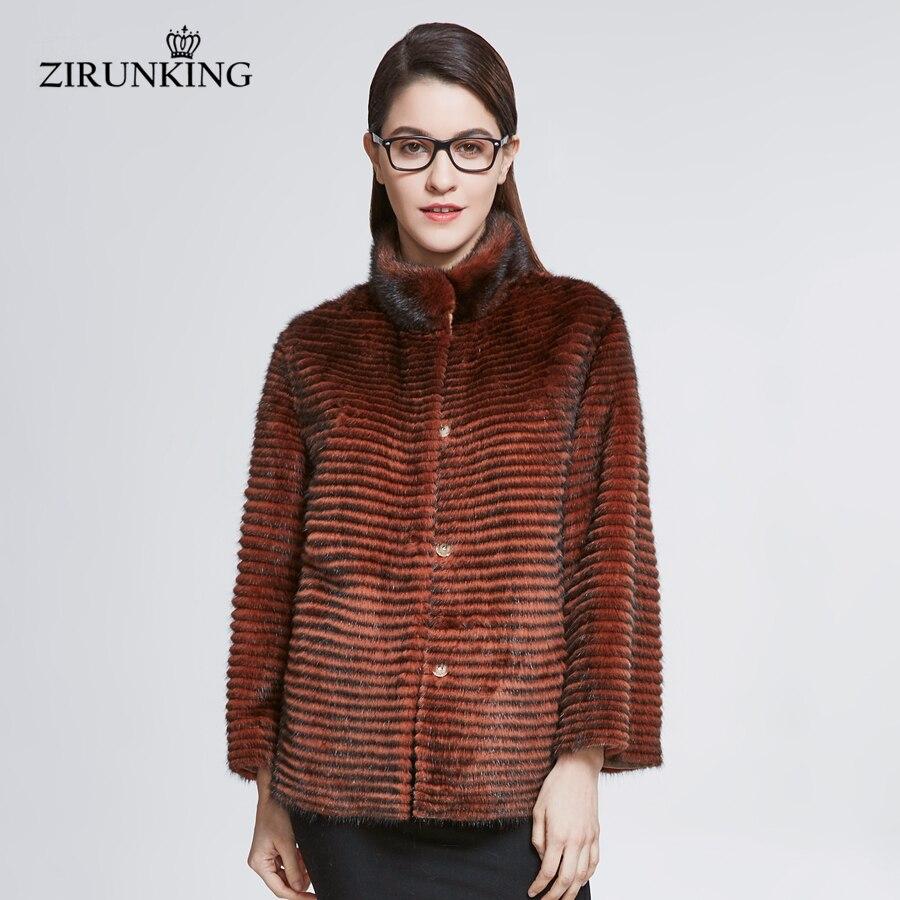 ZIRUNKING dame court réel vison fourrure manteau femmes vison fourrure vestes pardessus femme haute rue col montant fourrure vêtements d'extérieur ZC1834