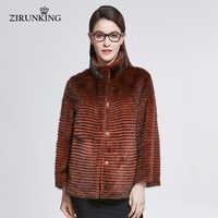 ZIRUNKING Lady Short Real Mink Fur Coat Women Mink Fur Jackets Overcoat Female High Street Stand Collar Fur Outerwear ZC1834