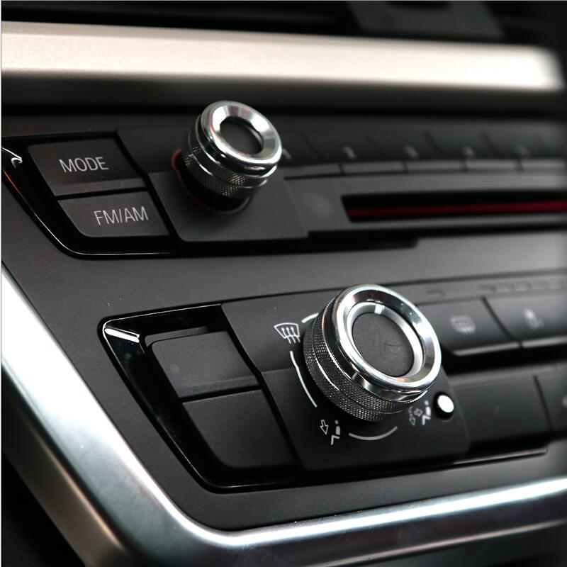 Car Styling Air Conditioning Knobs Audio Circle Trim Accessories For BMW 1 2 3 <font><b>4</b></font> 5 <font><b>7</b></font> Series X1 X3 X4 X5 X6 F30 F10 F15 F16 F20 image