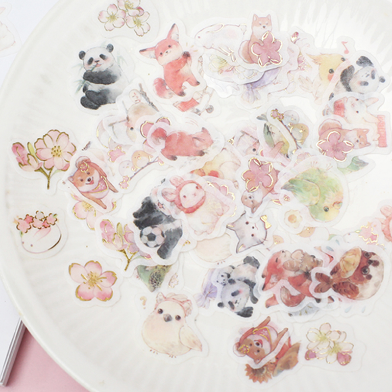 45pcs/1lot Kawaii Stationery Stickers Cute Animal Fox Diary Planner Decorative Mobile Stickers Scrapbooking DIY Craft Stickers