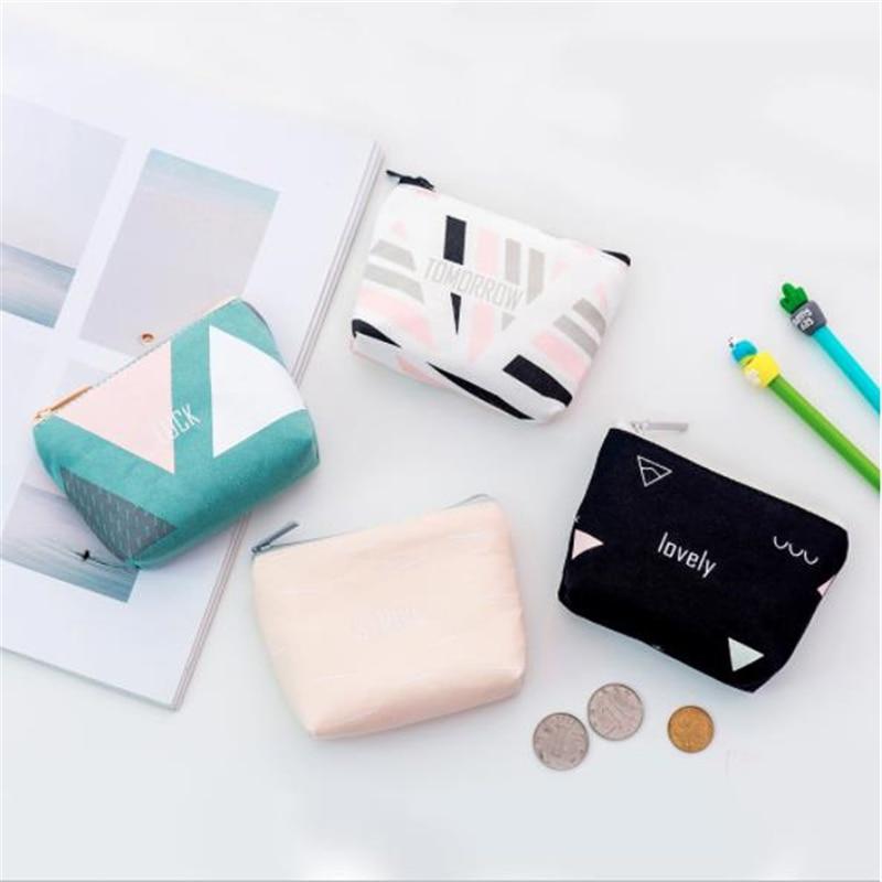 Mode géométrique toile porte-monnaie petit portefeuille femme changement sacs à main Mini fermeture éclair poche portefeuilles clé porte-carte sac à main