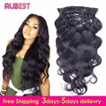 Alibest Clip Human Hair 10-28 Inch Natural Color Peruvian Hair Human Hair Clip In Extensions Body Wave Human Hair Extension Clip