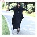 De gran tamaño negro de algodón de lino de manga larga traje a estrenar de gran tamaño vestido de las mujeres largas del otoño mori niña vestido vestidos
