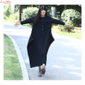 large size black cotton linen long sleeve dress women long autumn robe brand oversize mori girl gown dresses