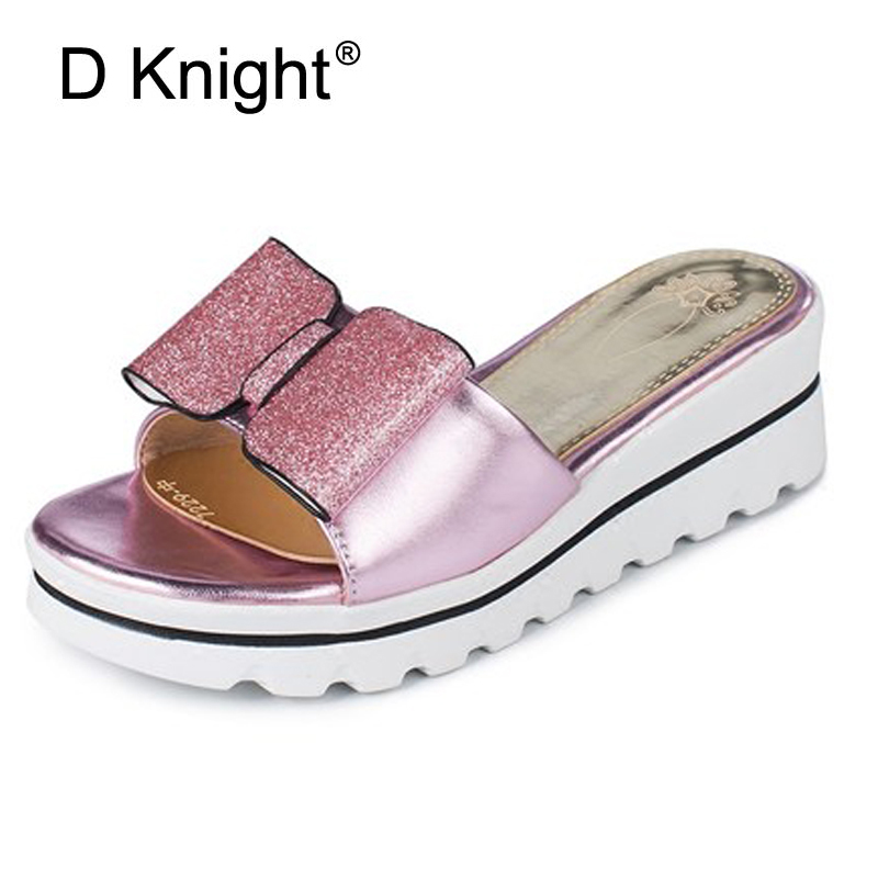 Glitter Bow Slippers Summer Beach Wedges Sandals Casual Platform Shoes Woman Bling High Heels Flip Flops Women Shoes Gold Silver bling patent leather oxfords 2017 wedges gold silver platform shoes woman casual creepers pink high heels high quality hds59
