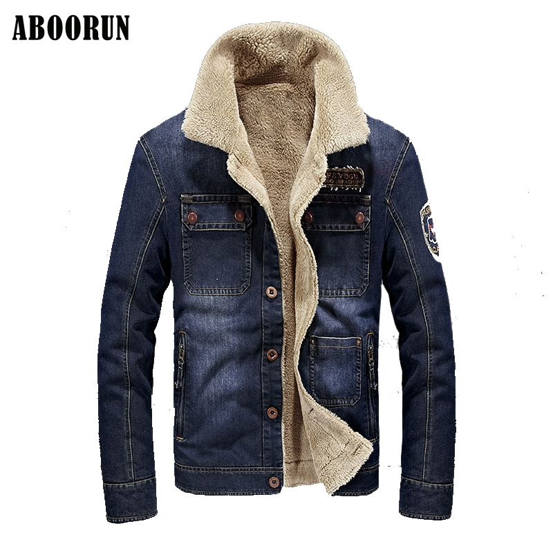 ABOORUN Winter Denim Jacket Men Thicken Military Tactical Outwear Jeans Jacket Coats Mens Brand Clothing Parka