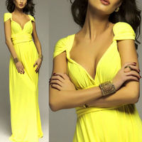2016 Summer Sexy Women Yellow Infinity Maxi Wrap Dress Long Dress Sexy Multiway Bridesmaids Convertible Dress