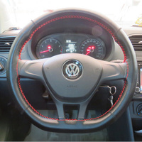 DIY Hand Stitched Genuine Cowhide Car Braid Leather Car Steering Wheel Cover For D Style Auto