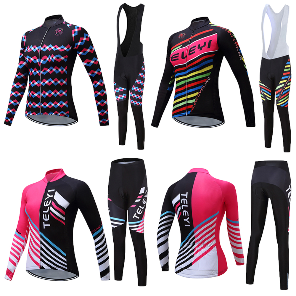 Women Autumn/Spring Long Sleeve Bike Clothing Female Bib Pants Set 2019 Pro Team Cycling Clothes Kits Bicycle Jersey mtb Uniform
