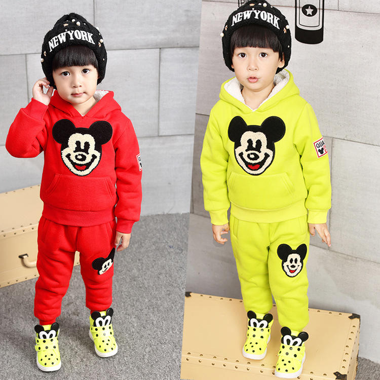 Free shipping 2015 winter new fashion baby girl boy kid children cartoon character casual clothing sets  cotton 2-7 Age