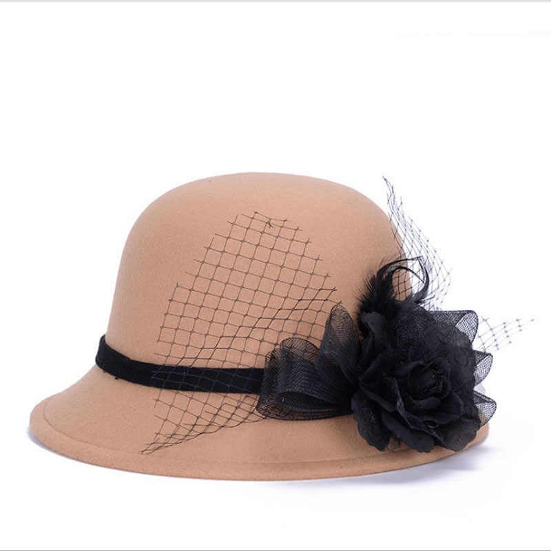 Baru Fashion Sweet Warna Solid Wanita Pantai Retro Vintage Wol Merasa Bowler Bunga Fedora Topi Musim Gugur Musim Dingin Ember Topi untuk wanita