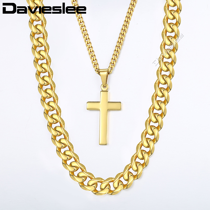 Davieslee Hip Hop Necklace For Men Gold Stainless Steel Wheat Box Link Chain Cross Pendant Necklace Jewelry 10mm 24inch LDN06 fashion rhinestone hollow out tortile cross shape pendant necklace for men