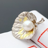pavilion silver Natural pearl Thai the silver pendant 925 sterling silver brooch pendant amphibious leaves
