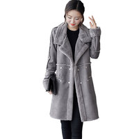 2017New Winter Long Wool Coat Lambswool Women Large size thick Woolen Female Jacket Fashion Woman Coats manteau femme hiver Z258